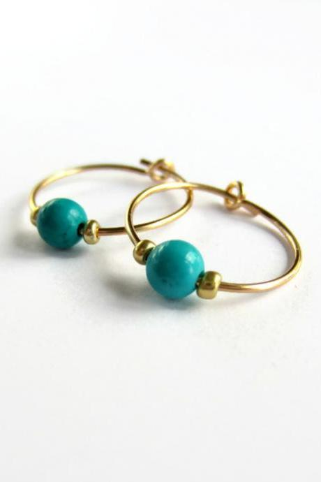 Turquoise Gemstone Beaded Hoop Earrings - 14 Carat Gold Filled
